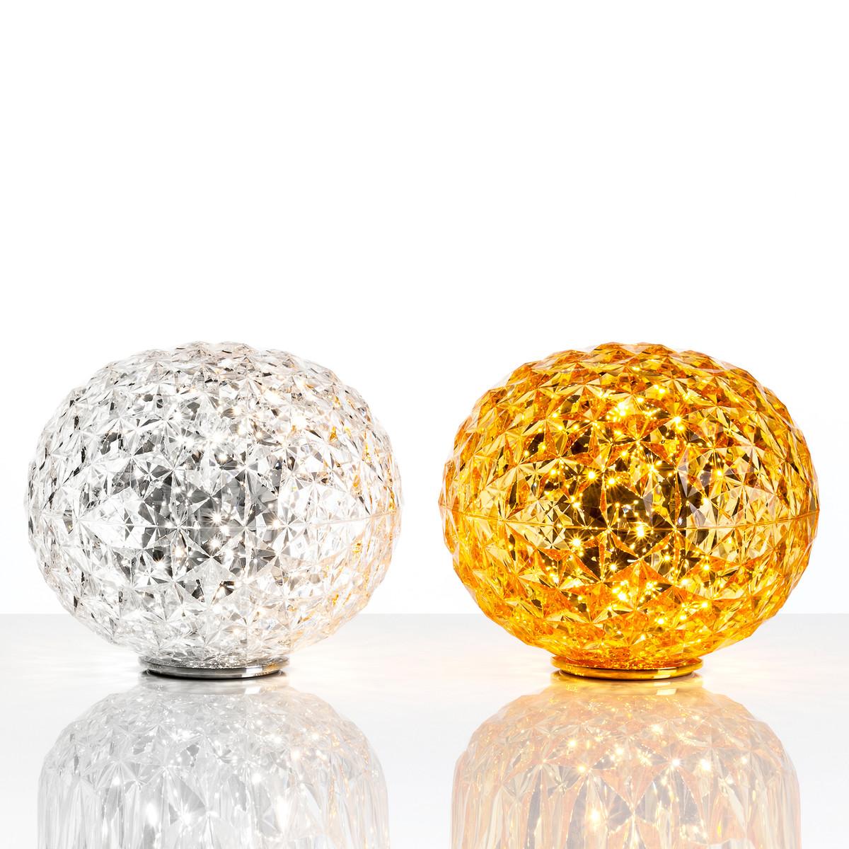 kartell-planet-led-tischleuchten-glasklar-und-gelb